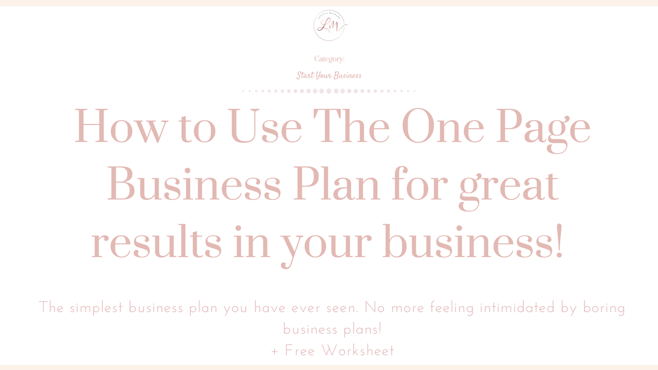 The One Page Business Plan Worksheet Lm